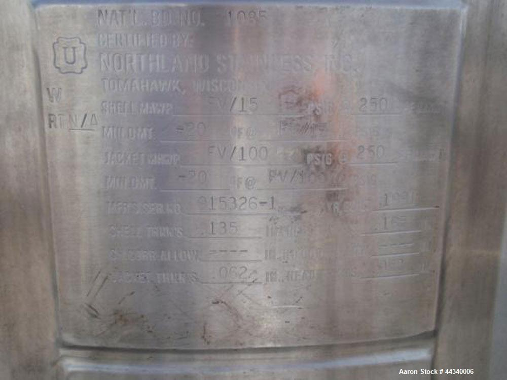 "Used- Northland Stainless Reactor, 100 Gallon, Stainless Steel. Approximately 28"" diameter x 40"" straight side, dished top a..."