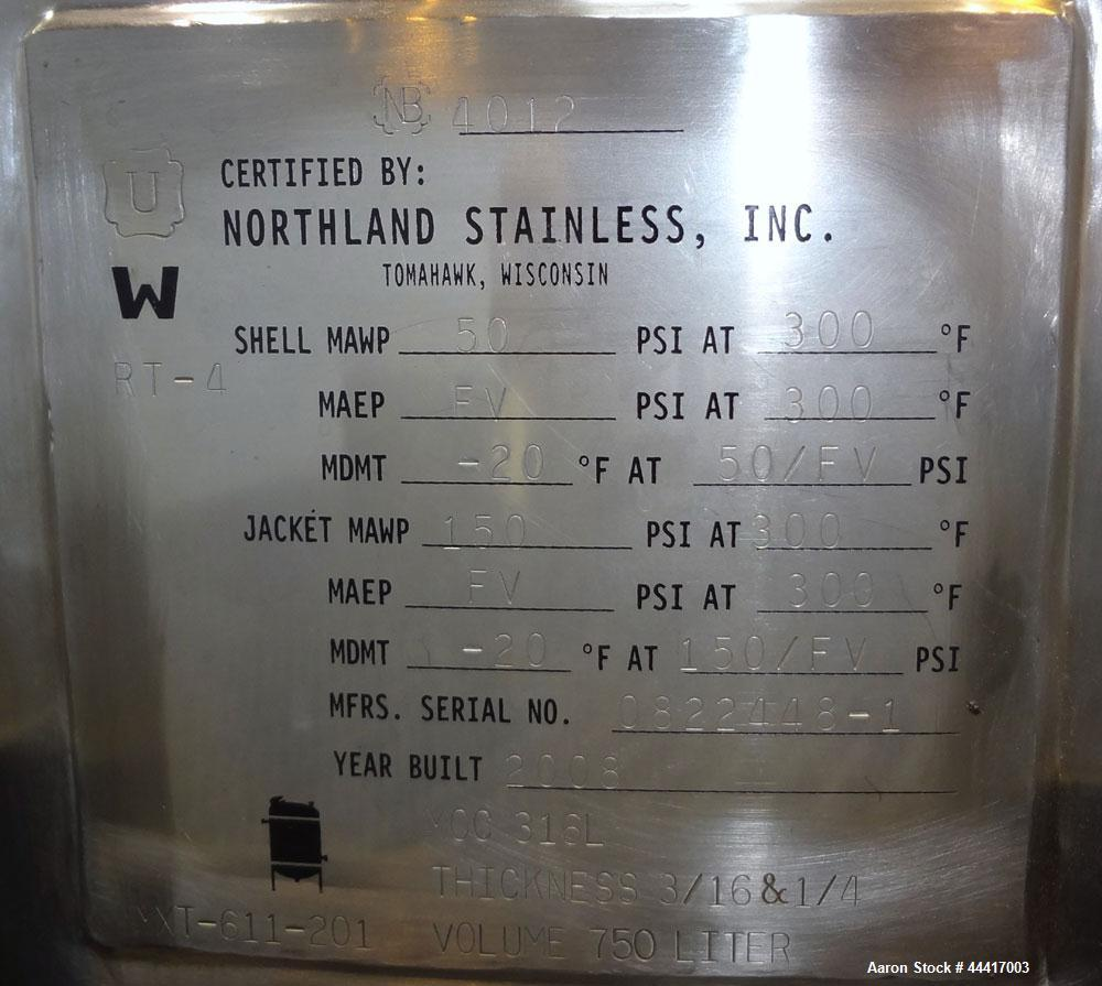 "Unused- Northland Stainless Reactor, 750 Liter (198 Gallon), 316 L Stainless Steel, Vertical. 40"" Diameter x 33"" straight si..."