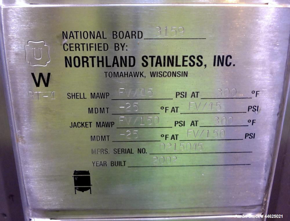 "Used- Northland Stainless Reactor, 396 Gallon, 316L Stainless Steel, Vertical. 42"" Diameter x 63"" straight side, dished top ..."
