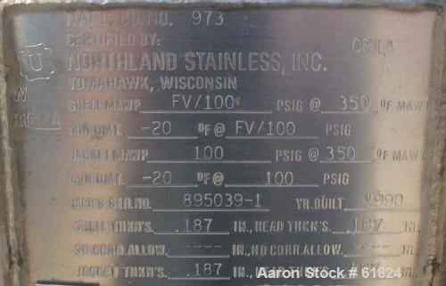 "Used- Northland Stainless Reactor, 10 Gallon, 316 Stainless Steel, Vertical. 14"" Diameter x 14"" straight side, dished top an..."
