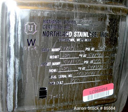 "USED: Northland Stainless reactor, 205 gallon, 316L stainless steel, vertical. 36"" diameter x 45"" straight side, dished top,..."