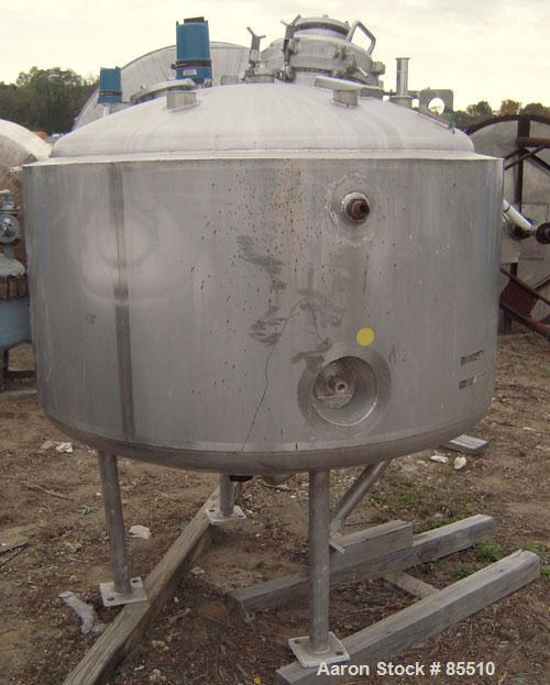 """Used- Northland Stainless Reactor, 300 Gallon, 316L Stainless Steel, Vertical. 54"""" diameter x 26"""" straight side, dished top ..."""