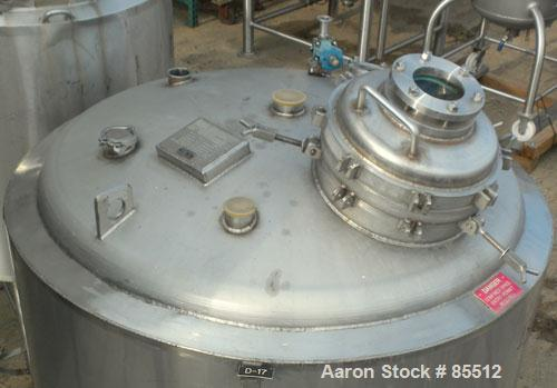 "USED- Northland Stainless Reactor, 300 Gallon, 316L Stainless Steel, Vertical. 54"" diameter x 26"" straight side, dished top ..."