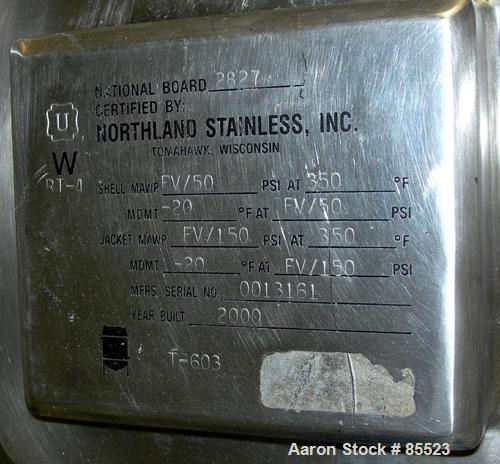 "USED: Northland Stainless reactor, 1300 gallon, 316L stainless steel, vertical. 78"" diameter x 57"" straight side, dished top..."