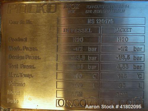 Used- Packo Inox Reactor, 52.8 Gallon (200 Liter), 316 Stainless Steel, Vertical. Approximate 30'' diameter x 24'' deep, tap...