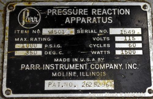 "Used- Parr Pressure Reaction Apparatus, 0.5 Gallon, Model 4501, 316 Stainless Steel, Vertical. Approximate 4"" diameter x 10-..."
