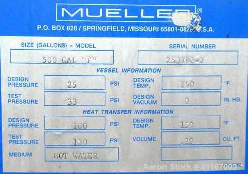 Used- Mueller Reactor, 500 Gallon, Model F, 316L stainless steel, vertical. 54'' diameter x 50-3/4'' straight side, dished t...