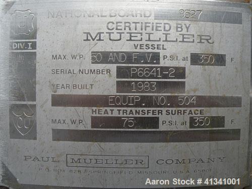 Used- 350 Gallon Stainless Steel Mueller Reactor