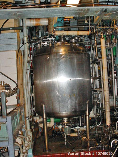 "Used-Paul Mueller 500 Gallon, 316L Stainless Steel, Reactor. 54"" diameter x 48"" straight side. Internal rated 75 psi/FV @ 32..."