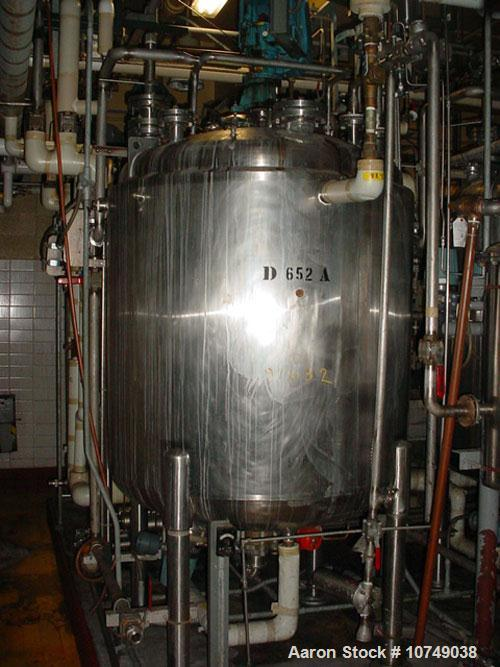 "Used-Paul Mueller 500 Gallon, 316L Stainless Steel, Reactor. 52"" diameter x 48"" straight side. Internal rated 100 psi/full v..."