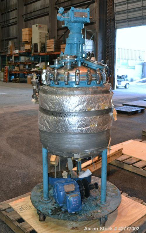 Used- Pfaudler Clamp Top Reactor, 30 Gallon, 316 Stainless Steel, Vertical. 20'' diameter x 21'' straight side, dished bolt ...
