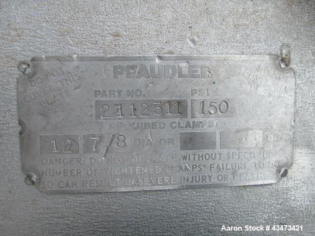 """Used- Pfaudler Reactor, 200 Gallon, 316 Stainless Steel. Approximately 40"""" diameter x 36"""" straight side, dish top and bottom..."""