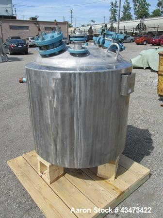 """Used- Pfaudler Reactor Body, 100 Gallon, 316 Stainless Steel. Approximately 32"""" diameter x 25"""" straight side, dish top and b..."""