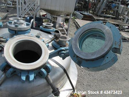 """Used- Pfaudler Reactor Body, 100 Gallon, 316 Stainless Steel. Approximately 34"""" diameter x 25"""" straight side, dish top and b..."""