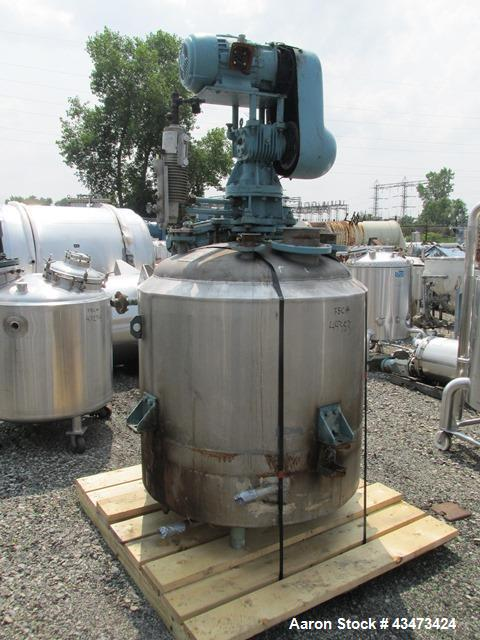 "Used- Pfaudler Reactor, 200 Gallon, 316 Stainless Steel. Approximately 40"" diameter x 36"" straight side, dish top and bottom..."