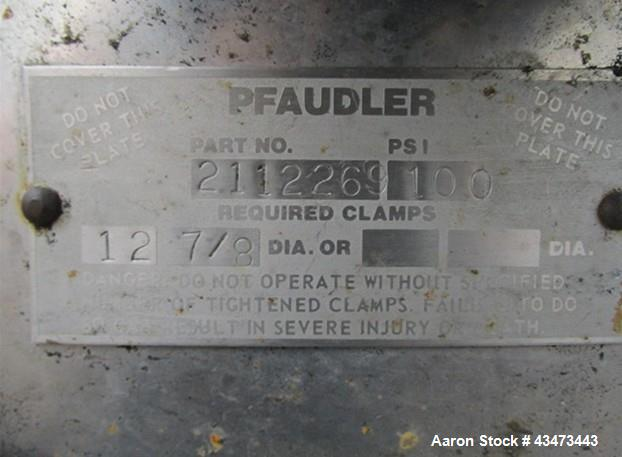 """Used- Pfaudler Reactor, 400 Gallon, 316L Stainless Steel. Approximately 48"""" diameter x 43"""" straight side, semi elliptical to..."""