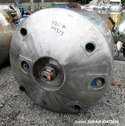 "Used- Pfaudler Reactor, 400 Gallon, 316L Stainless Steel. Approximately 48"" diameter x 43"" straight side, semi elliptical to..."