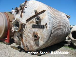 """Used- Pfaudler 6000 Gallon 316 Stainless Steel Reactor. Approximately 120"""" diameter x 10' side wall. Internal 75 PSI at 500 ..."""