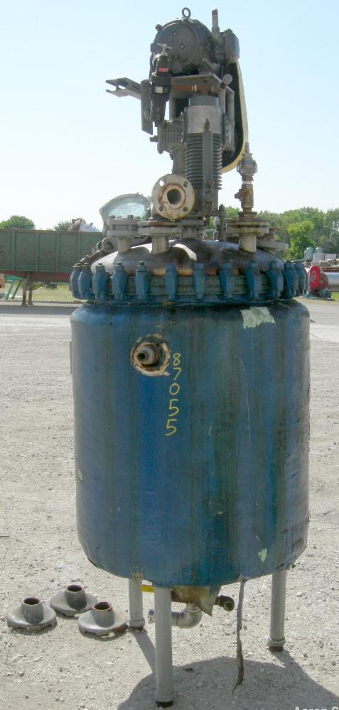 "Used- Pfaudler Reactor, 100 Gallon, 316L Stainless Steel, Vertical. 30"" diameter x 30"" straight side, bolt-on dished top, di..."