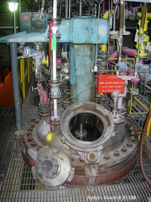 """Used- Polymetal Manufacturing Reactor, 250 Gallon, 316 Stainless Steel, Vertical. 42-1/2"""" diameter x 38"""" straight side. Dish..."""