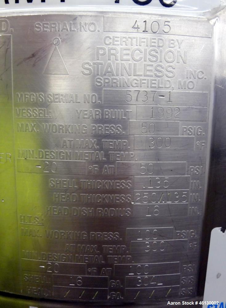Used- Precision Stainless Reactor, 130 Liters (34.3 Gallon)