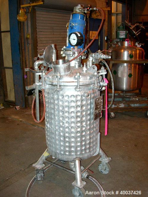 "Used- Precision Stainless Reactor, 50 gallon, 316L stainless steel, vertical. 22"" diameter x 30"" straight side, bolt on dish..."