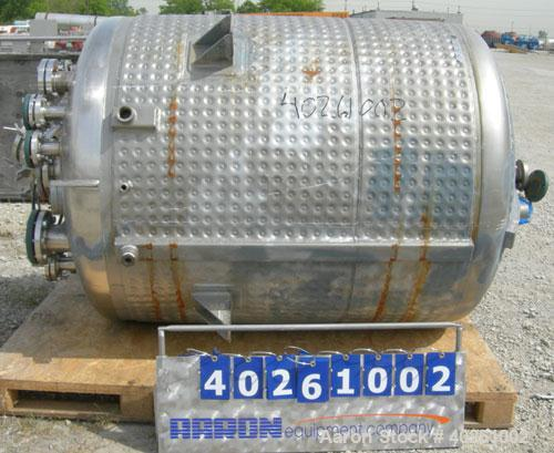 "Used- Precision Stainless Reactor, 600 Gallon, 316L Stainless Steel, Vertical.  54"" diameter x 60"" straight side.  Dish top ..."
