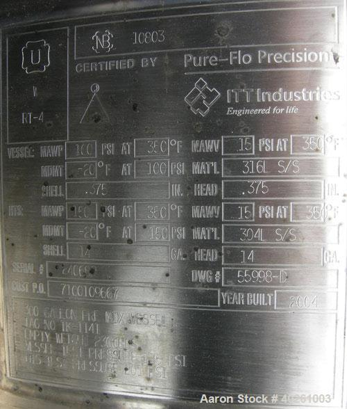 """Used- Pure Flo Precision Reactor, 300 Gallon, 316L Stainless Steel, Vertical. 42"""" diameter x 64"""" straight side.  Dish top an..."""