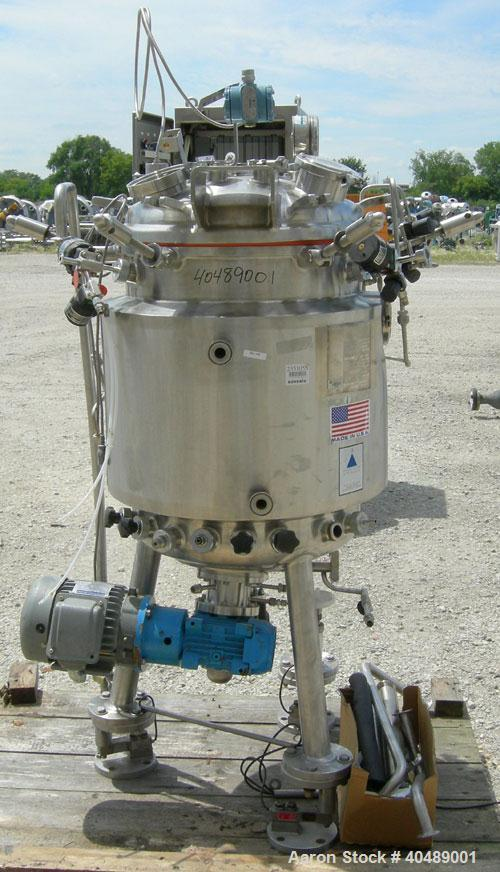"""Used- Precision Stainless reactor, 39 gallon (150 liter), 316L stainless steel, vertical. Approximately 20"""" diameter x 27"""" s..."""