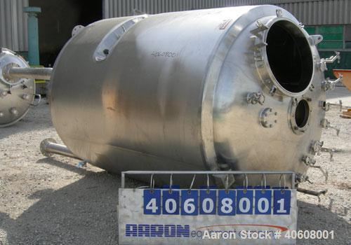 """Used- Precision Stainless reactor, 3000 liter (792 gallon), 316L stainless steel, vertical. 54"""" diameter x 72"""" straight side..."""