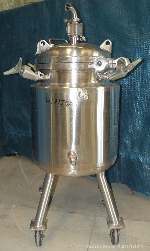 "Used- Precision Stainless Reactor, 26 Gallon (100 Liter), 316L Stainless Steel, Vertical. 18"" diameter x 24"" straight side. ..."