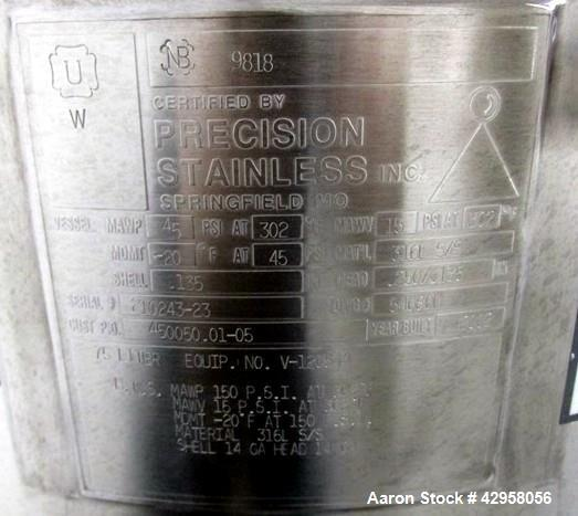 """Used- Precision Stainless Kettle, 75 Liter (19.81 Gallon). 316L Stainless steel construction, approximately 18"""" diameter x 1..."""