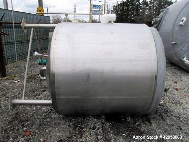 """Used- Precision Jacketed Receiver, 2800 L iter (700 Gallon). 316L Stainless steel construction, approximately 60"""" diameter x..."""