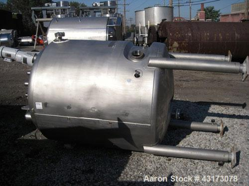 "Used- Precision Reactor, 1500 Liter (396 Gallon), 316L Stainless Steel Construction. 48"" Diameter x 48"" straight side, dish ..."