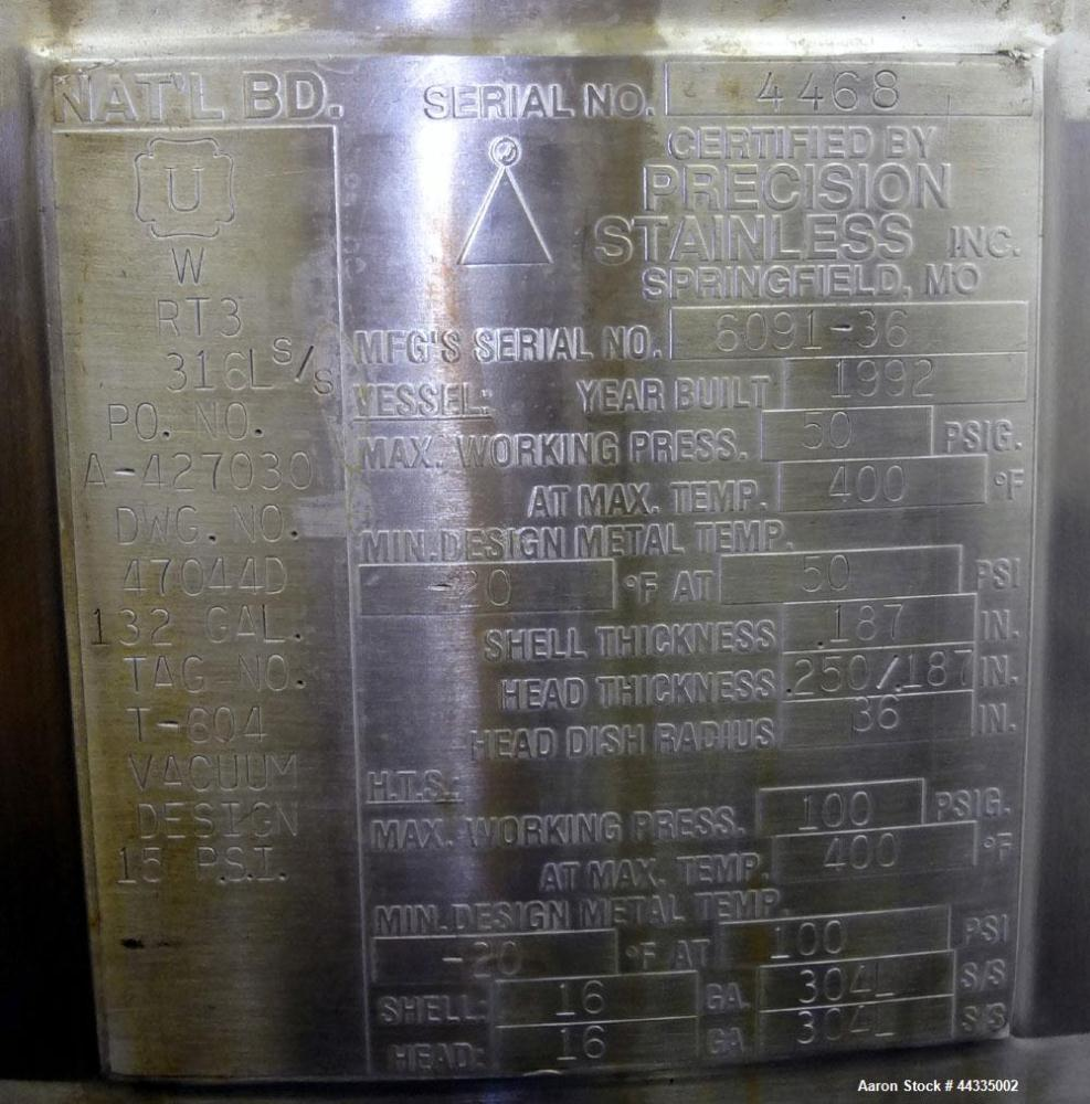 Used- 132 Gallon Stainless Steel Precision Stainless Reactor
