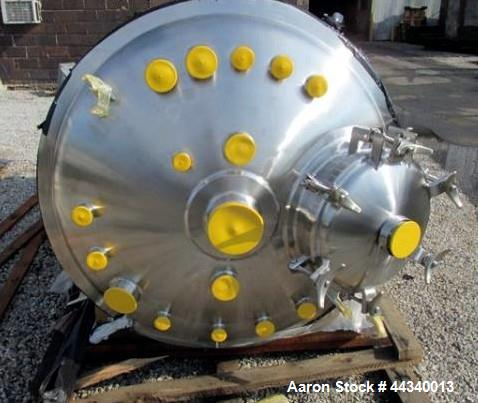 Unused- Precision Stainless Reactor, 2500 Liter (660 Gallon), 316L Stainless Steel. Dish top & bottom. Internal rated 53.5 p...