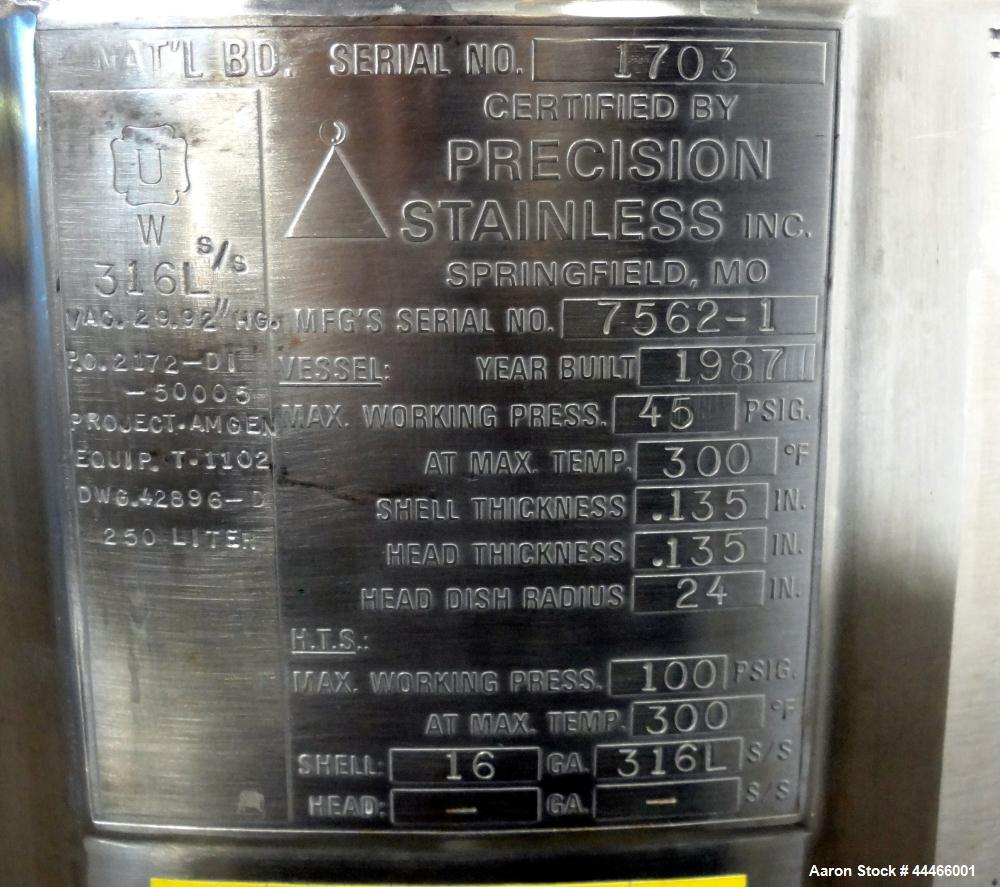"Used- Precision Stainless Reactor, 250 Liter (66 Gallon), 316L Stainless Steel, Vertical. 24"" Diameter x 30"" straight side, ..."