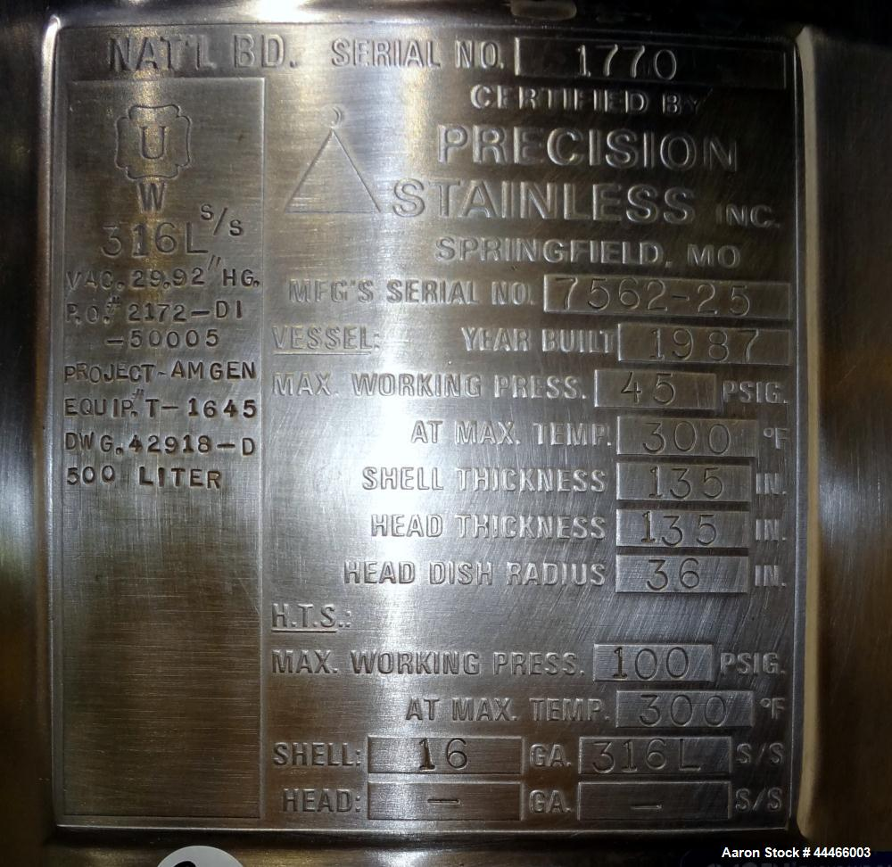 """Used- Precision Stainless Reactor, 500 Liter (132 Gallon), 316L Stainless Steel, Vertical. 36"""" Diameter x 30"""" straight side,..."""