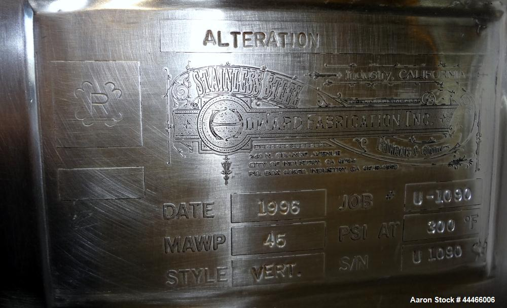 Used- 1000 Liter Stainless Steel Precision Stainless Reactor
