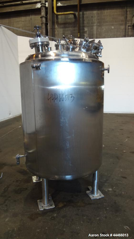 "Used- Precision Stainless Reactor, 1250 Liter (330 Gallon), 316L Stainless Steel, Vertical. 42"" Diameter x 48"" straight side..."