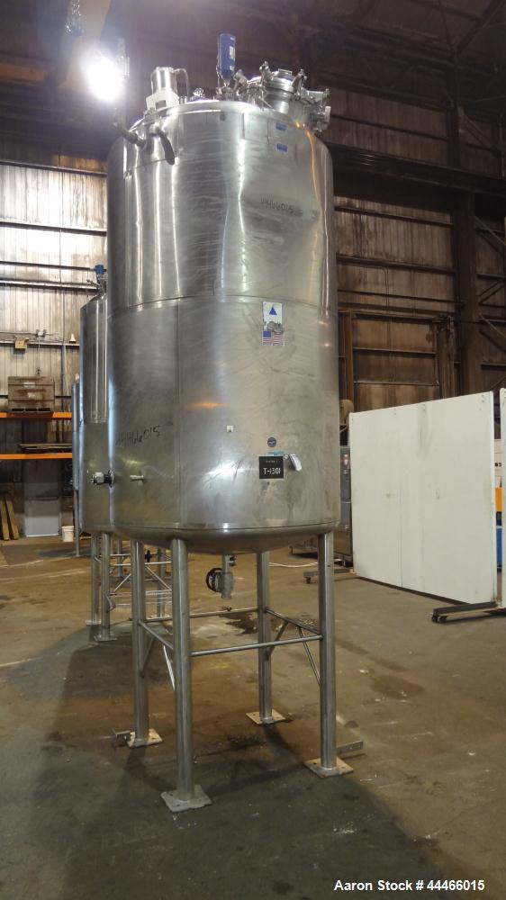 "Used- Precision Stainless Reactor, 1650 Liter (436 Gallon), 316L Stainless Steel, Vertical. 48"" Diameter x 72"" straight side..."