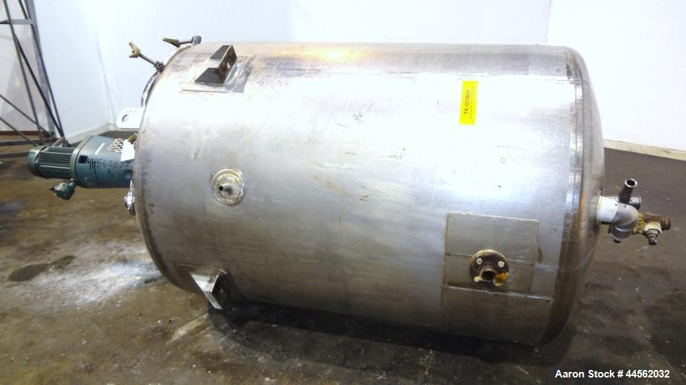 """Used- Precision Stainless Reactor, 2000 Liter (528 Gallon), 316L Stainless Steel, Vertical. 48"""" Diameter x 62"""" straight side..."""