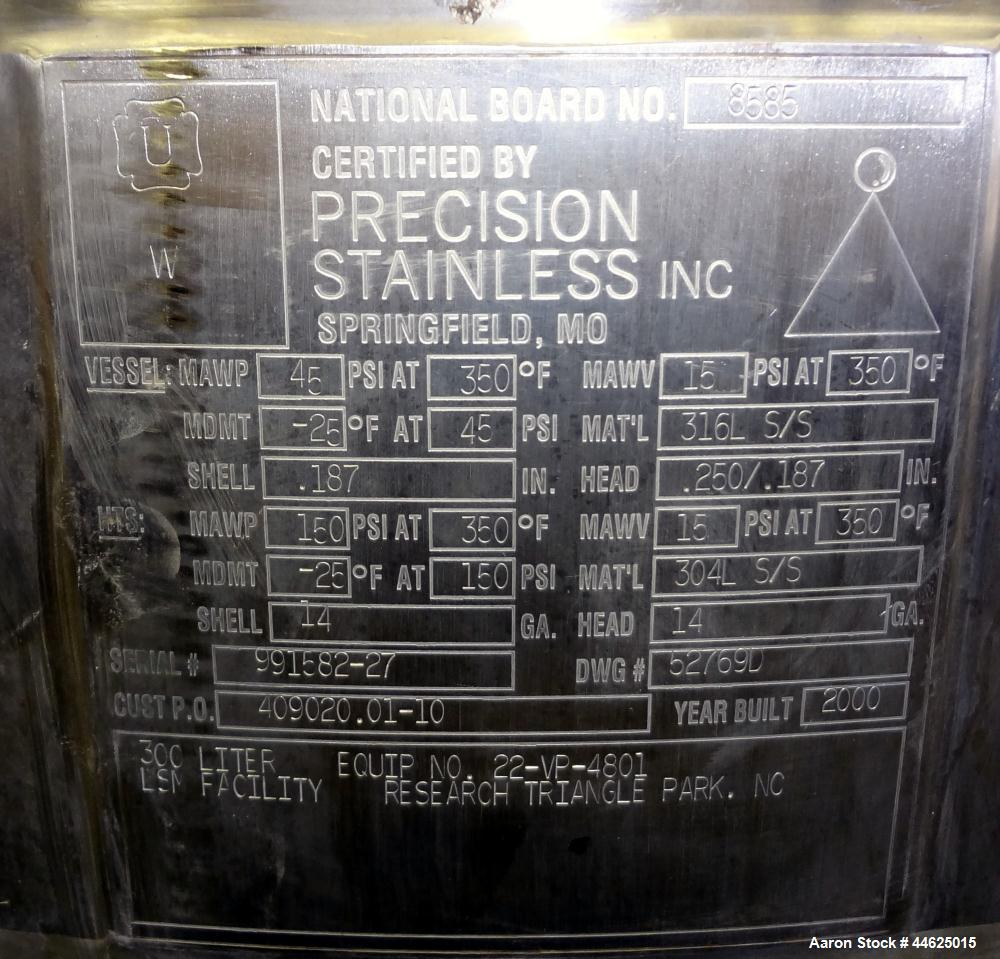 "Used- Precision Stainless Reactor, 300 Liter (79 Gallon), 316L Stainless Steel, Vertical.  26-1/2"" Diameter x 39"" straight s..."