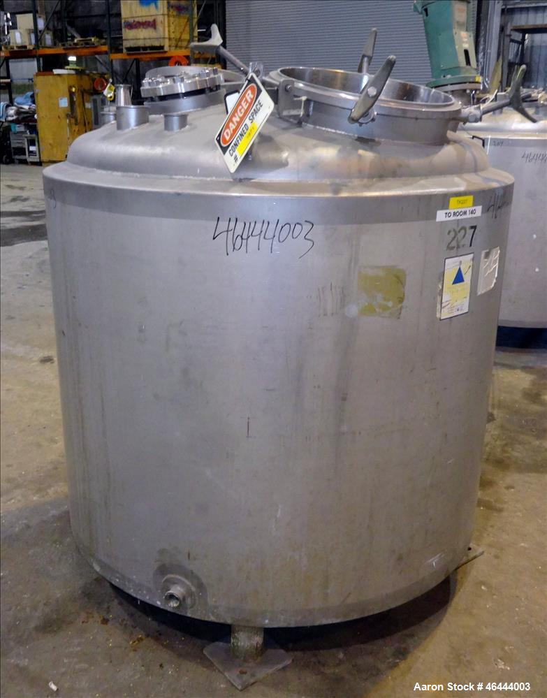 "Used- Precision Stainless Reactor, 300 Gallon, 316L Stainless Steel, Vertical. 48"" Diameter x 40"" straight side, dished top,..."