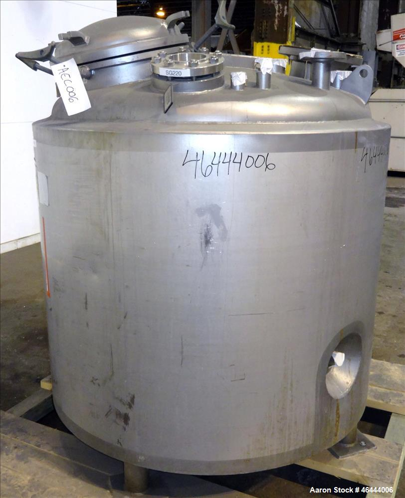 """Used- Precision Stainless Reactor, 300 Gallon, 316L Stainless Steel, Vertical. 48"""" Diameter x 40"""" straight side, dished top,..."""