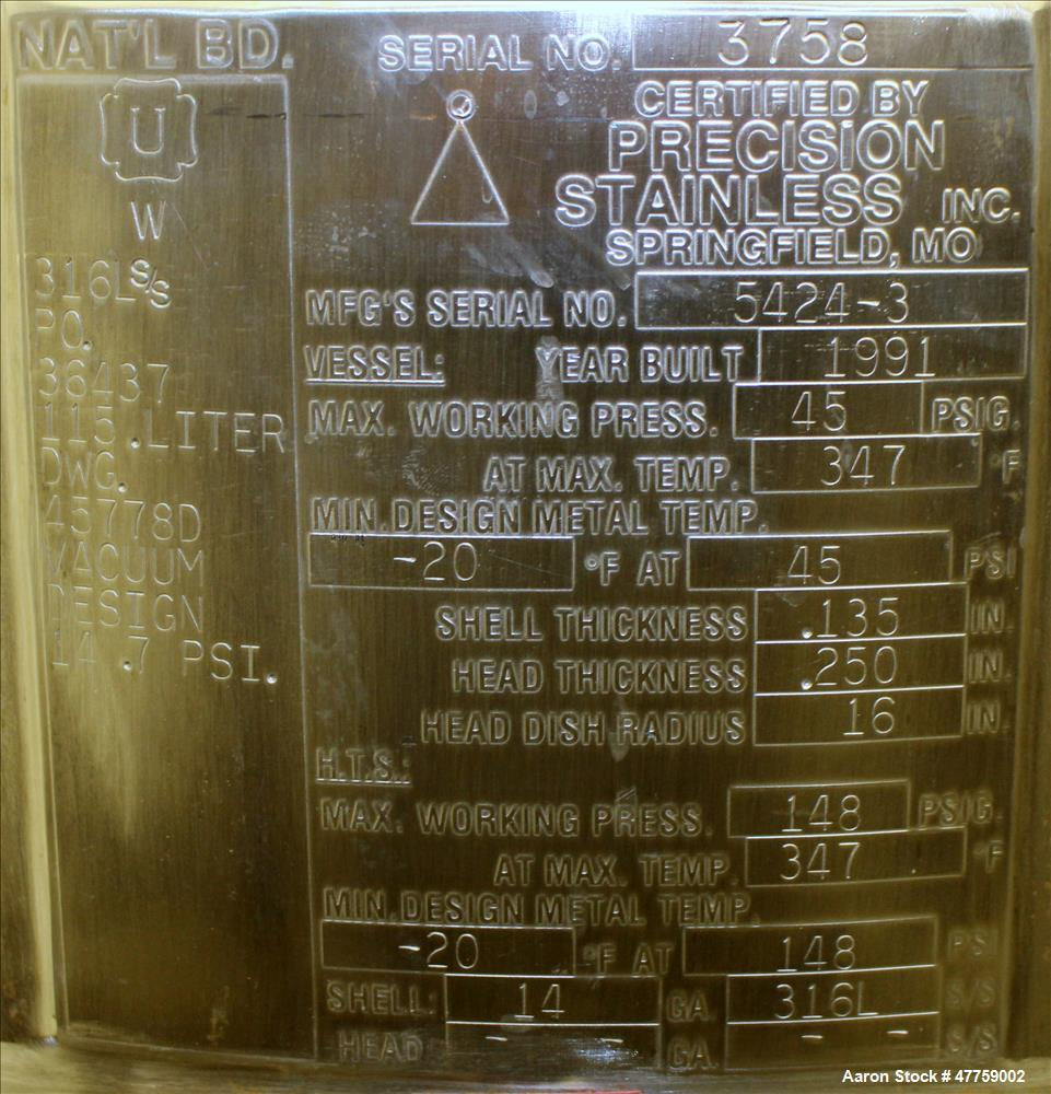 Used- Precision Stainless Reactor, 115 Liter (30 Gallon), 316L Stainless Steel,