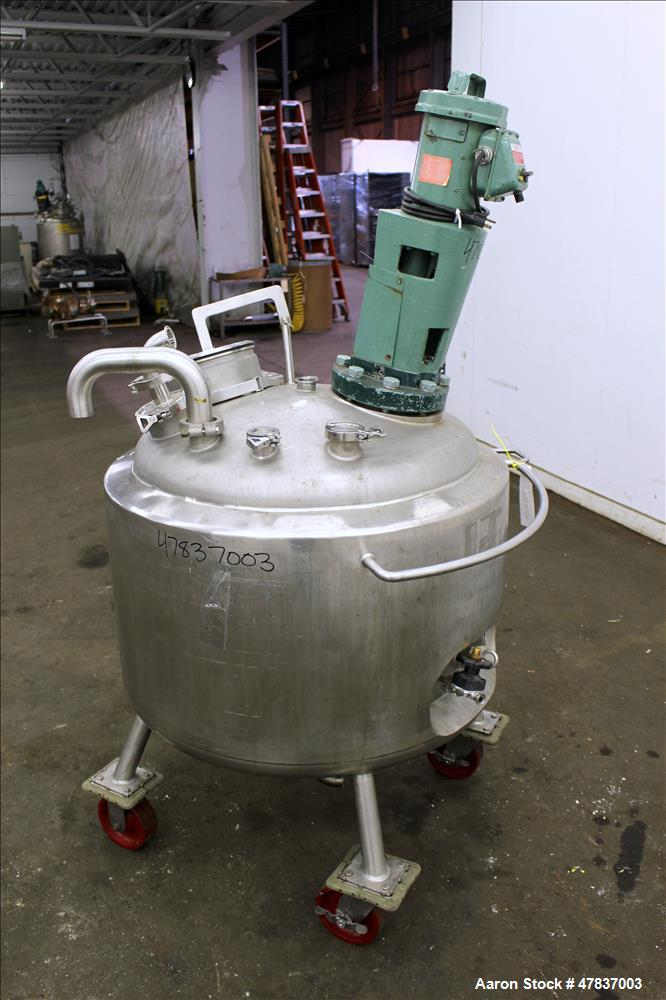 """Used- Precision Stainless Reactor, 240 Liter (63 Gallon), 316L Stainless Steel, Vertical. 30"""" Diameter x 20"""" straight side, ..."""