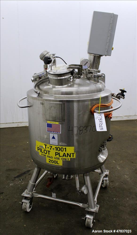 "Used- Precision Stainless Reactor, 200 Liter (52 Gallon), 316L Stainless Steel, Vertical. 26"" Diameter x 24"" straight side, ..."
