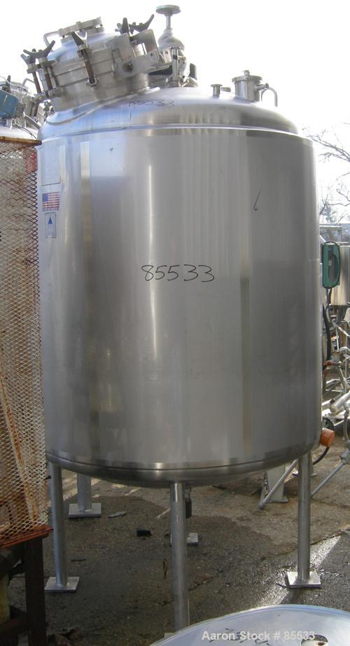"USED: Precision Stainless reactor, 400 gallon, 316L stainless steel, vertical. 48"" diameter x 48"" straight side, dished top ..."