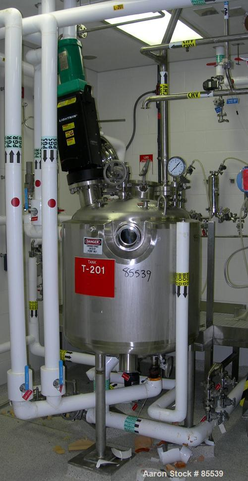 """USED: Precision Stainless reactor, 80 gallon, 316L stainless steel, vertical. 30"""" diameter x 24"""" straight side, dished top a..."""